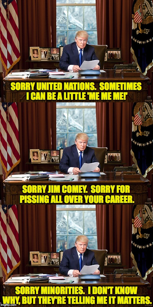 Trump Resignation Part 3 | SORRY UNITED NATIONS.  SOMETIMES I CAN BE A LITTLE 'ME ME ME!' SORRY MINORITIES.  I DON'T KNOW WHY, BUT THEY'RE TELLING ME IT MATTERS. SORRY | image tagged in trump,resignation,memes | made w/ Imgflip meme maker