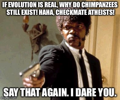 Say That Again I Dare You Meme | IF EVOLUTION IS REAL, WHY DO CHIMPANZEES STILL EXIST! HAHA, CHECKMATE ATHEISTS! SAY THAT AGAIN. I DARE YOU. | image tagged in memes,say that again i dare you | made w/ Imgflip meme maker