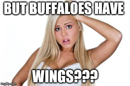 dumb blonde | BUT BUFFALOES HAVE WINGS??? | image tagged in dumb blonde | made w/ Imgflip meme maker