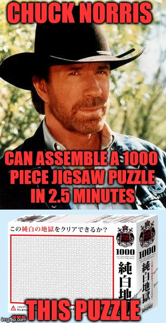 CHUCK NORRIS CAN ASSEMBLE A 1000 PIECE JIGSAW PUZZLE IN 2.5 MINUTES ...THIS PUZZLE | image tagged in chuck norris,puzzle | made w/ Imgflip meme maker