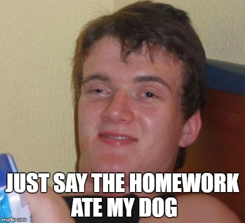 10 Guy Meme | JUST SAY THE HOMEWORK ATE MY DOG | image tagged in memes,10 guy | made w/ Imgflip meme maker