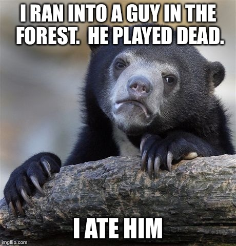 When people think bears are cute and cuddly. | I RAN INTO A GUY IN THE FOREST.  HE PLAYED DEAD. I ATE HIM | image tagged in memes,confession bear | made w/ Imgflip meme maker