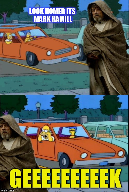 Geek Week, Jan 7-13, a JBmemegeek & KenJ event! Submit anything and everything geek! |  LOOK HOMER ITS MARK HAMILL; GEEEEEEEEEK | image tagged in memes,geek week,geek,star wars,mark hamill,simpsons | made w/ Imgflip meme maker
