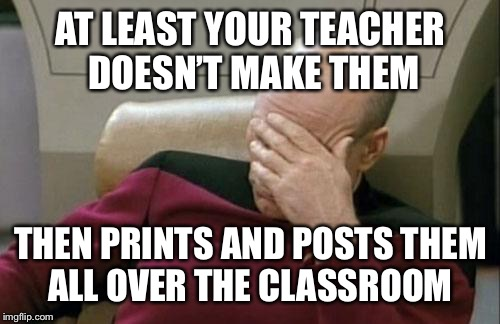 Captain Picard Facepalm Meme | AT LEAST YOUR TEACHER DOESN'T MAKE THEM THEN PRINTS AND POSTS THEM ALL OVER THE CLASSROOM | image tagged in memes,captain picard facepalm | made w/ Imgflip meme maker