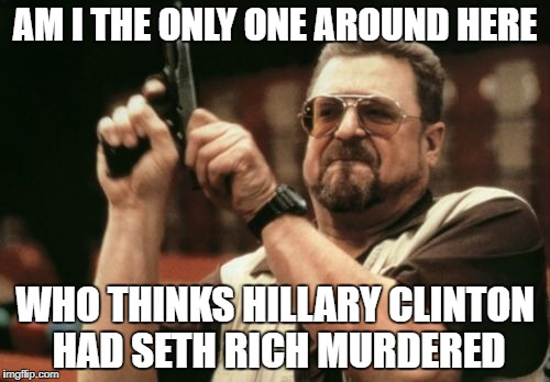 Am I The Only One Around Here Meme | AM I THE ONLY ONE AROUND HERE WHO THINKS HILLARY CLINTON HAD SETH RICH MURDERED | image tagged in memes,am i the only one around here | made w/ Imgflip meme maker