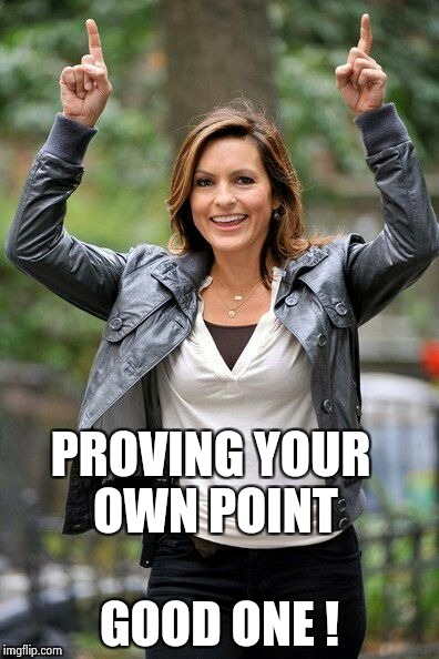 Olivia Benson | PROVING YOUR OWN POINT GOOD ONE ! | image tagged in olivia benson | made w/ Imgflip meme maker