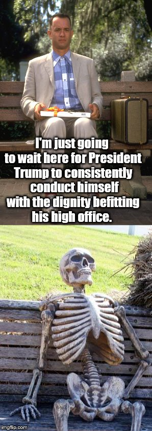 Waiting For a Dignified President | I'm just going to wait here for President Trump to consistently  conduct himself with the dignity befitting his high office. | image tagged in memes,political meme,trump,waiting skeleton | made w/ Imgflip meme maker