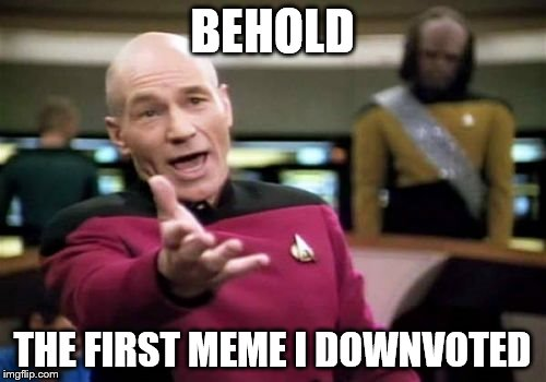 Picard Wtf Meme | BEHOLD THE FIRST MEME I DOWNVOTED | image tagged in memes,picard wtf | made w/ Imgflip meme maker