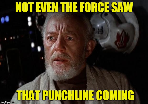 NOT EVEN THE FORCE SAW THAT PUNCHLINE COMING | made w/ Imgflip meme maker