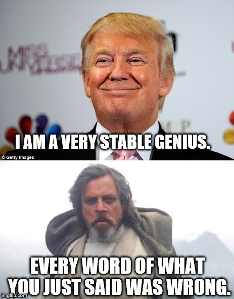 Jedi Knows Best | EVERY WORD OF WHAT YOU JUST SAID WAS WRONG. I AM A VERY STABLE GENIUS. | image tagged in donald trump,luke skywalker,star wars | made w/ Imgflip meme maker
