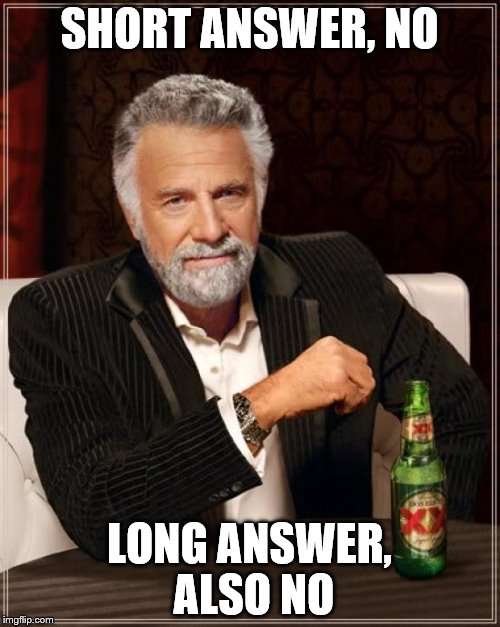 The Most Interesting Man In The World Meme | SHORT ANSWER, NO LONG ANSWER, ALSO NO | image tagged in memes,the most interesting man in the world | made w/ Imgflip meme maker