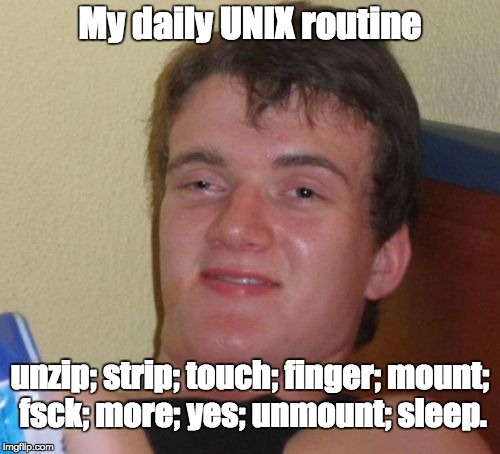 Sounds like my very same routine | My daily UNIX routine unzip; strip; touch; finger; mount; fsck; more; yes; unmount; sleep. | image tagged in memes,10 guy,geek week,computer nerd | made w/ Imgflip meme maker