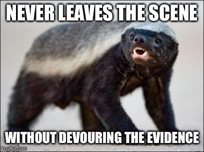 NEVER LEAVES THE SCENE WITHOUT DEVOURING THE EVIDENCE | made w/ Imgflip meme maker