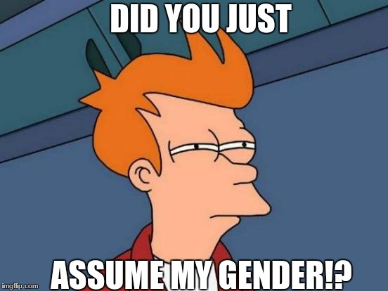 Futurama Fry Meme | DID YOU JUST ASSUME MY GENDER!? | image tagged in memes,futurama fry | made w/ Imgflip meme maker