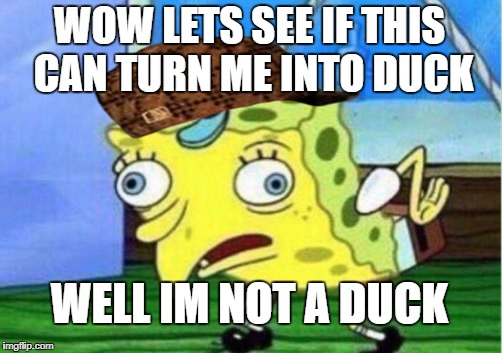 Mocking Spongebob Meme | WOW LETS SEE IF THIS CAN TURN ME INTO DUCK WELL IM NOT A DUCK | image tagged in memes,mocking spongebob,scumbag | made w/ Imgflip meme maker