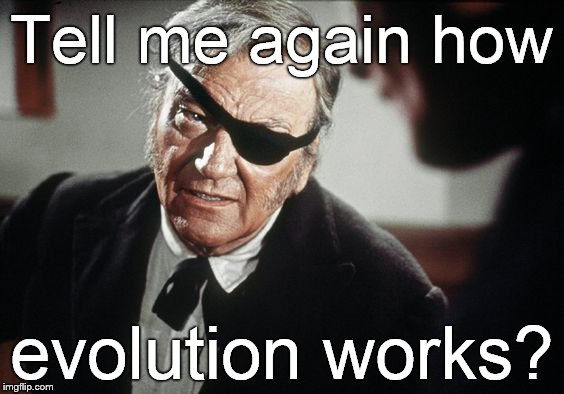 John Wayne | Tell me again how evolution works? | image tagged in john wayne | made w/ Imgflip meme maker