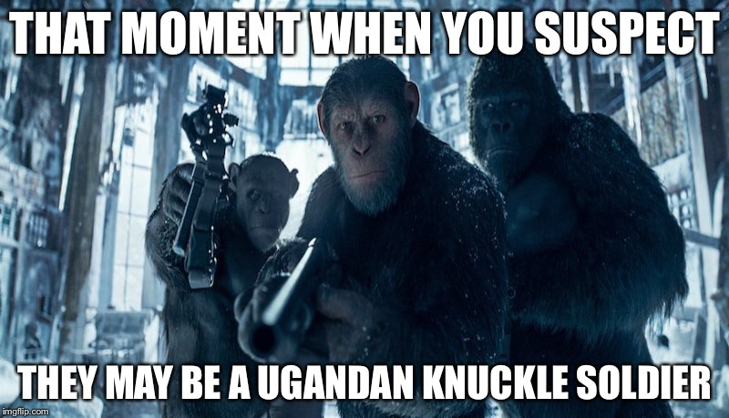 Ugandan Knuckle Resistance | THAT MOMENT WHEN YOU SUSPECT THEY MAY BE A UGANDAN KNUCKLE SOLDIER | image tagged in planet of the apes,guns | made w/ Imgflip meme maker