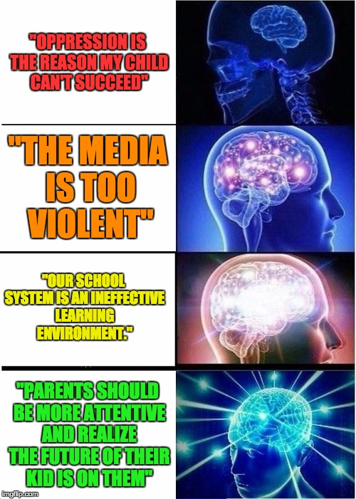 "Parenting styles 101 | ""OPPRESSION IS THE REASON MY CHILD CAN'T SUCCEED"" ""THE MEDIA IS TOO VIOLENT"" ""OUR SCHOOL SYSTEM IS AN INEFFECTIVE LEARNING ENVIRONMENT."" ""PA 
