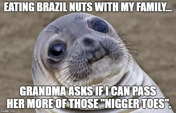 "Awkward Moment Sealion Meme | EATING BRAZIL NUTS WITH MY FAMILY... GRANDMA ASKS IF I CAN PASS HER MORE OF THOSE ""NI**ER TOES"". 