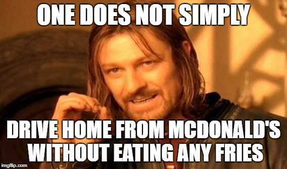 One Does Not Simply Meme | ONE DOES NOT SIMPLY DRIVE HOME FROM MCDONALD'S WITHOUT EATING ANY FRIES | image tagged in memes,one does not simply | made w/ Imgflip meme maker