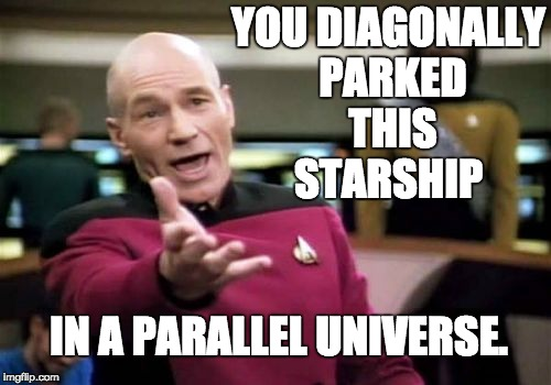 Some people just can't drive. | YOU DIAGONALLY PARKED THIS STARSHIP IN A PARALLEL UNIVERSE. | image tagged in memes,picard wtf,geek week,nerd,startrek | made w/ Imgflip meme maker