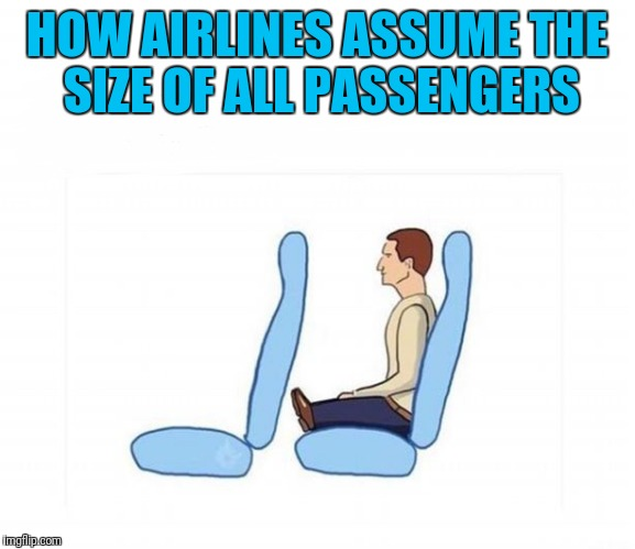 Airline seating | HOW AIRLINES ASSUME THE SIZE OF ALL PASSENGERS | image tagged in airlines,seat,travel,funny | made w/ Imgflip meme maker