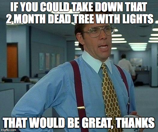 That Would Be Great Meme | IF YOU COULD TAKE DOWN THAT 2 MONTH DEAD TREE WITH LIGHTS THAT WOULD BE GREAT, THANKS | image tagged in memes,that would be great | made w/ Imgflip meme maker