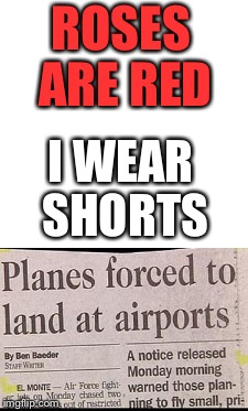 I do wear shorts | ROSES ARE RED I WEAR SHORTS | image tagged in other,headline,planes,memes | made w/ Imgflip meme maker