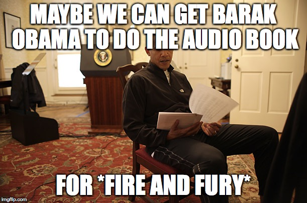 MAYBE WE CAN GET BARAK OBAMA TO DO THE AUDIO BOOK FOR *FIRE AND FURY* | image tagged in readforusbarak | made w/ Imgflip meme maker