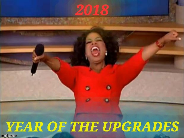 "Oprah You Get An Upgrade.  Try a font that's installed on your device, use the ""More Options"" link in the meme generator 