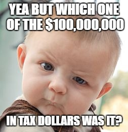 Skeptical Baby Meme | YEA BUT WHICH ONE OF THE $100,000,000 IN TAX DOLLARS WAS IT? | image tagged in memes,skeptical baby | made w/ Imgflip meme maker
