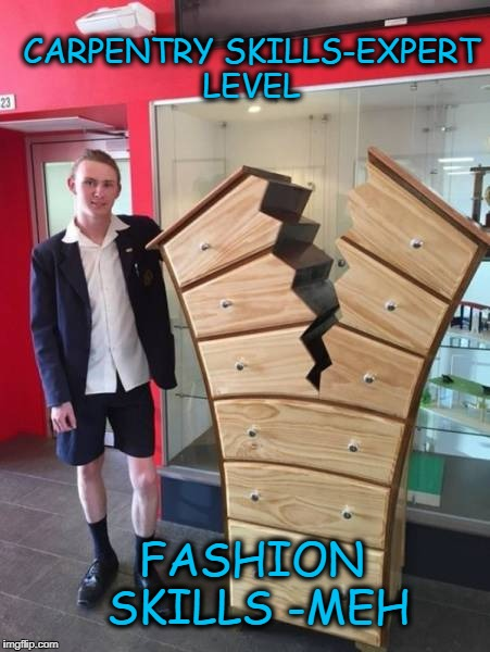 Good Drawers, Bad Drawers | CARPENTRY SKILLS-EXPERT LEVEL FASHION SKILLS -MEH | image tagged in lol | made w/ Imgflip meme maker