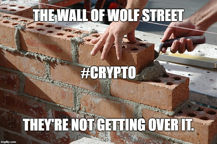 The Wall of Wolf Street | THE WALL OF WOLF STREET THEY'RE NOT GETTING OVER IT. #CRYPTO | image tagged in cryptocurrency,crypto | made w/ Imgflip meme maker