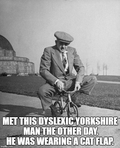 MET THIS DYSLEXIC YORKSHIRE MAN THE OTHER DAY. HE WAS WEARING A CAT FLAP. | image tagged in what if i told you | made w/ Imgflip meme maker