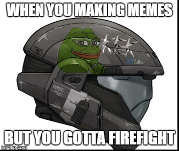 Title | WHEN YOU MAKING MEMES BUT YOU GOTTA FIREFIGHT | image tagged in odst,memes | made w/ Imgflip meme maker