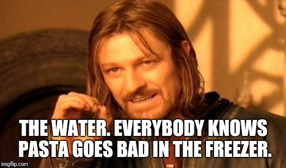 One Does Not Simply Meme | THE WATER. EVERYBODY KNOWS PASTA GOES BAD IN THE FREEZER. | image tagged in memes,one does not simply | made w/ Imgflip meme maker