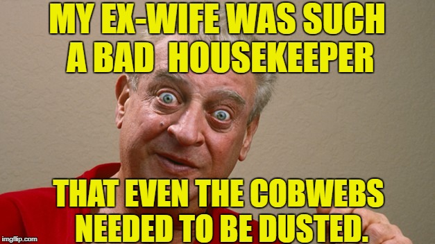 Rodney Dangerfield happily divorced | MY EX-WIFE WAS SUCH A BAD  HOUSEKEEPER THAT EVEN THE COBWEBS NEEDED TO BE DUSTED. | image tagged in rodney dangerfield,exwife | made w/ Imgflip meme maker