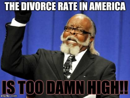no title | THE DIVORCE RATE IN AMERICA IS TOO DAMN HIGH!! | image tagged in memes,too damn high | made w/ Imgflip meme maker