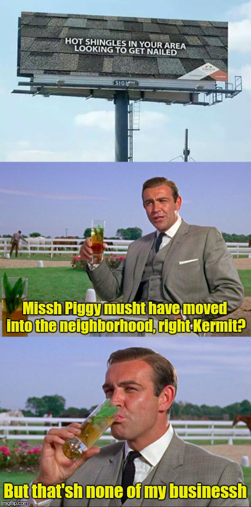 Hot shingles in your area | Missh Piggy musht have moved into the neighborhood, right Kermit? But that'sh none of my businessh | image tagged in memes,sean connery  kermit | made w/ Imgflip meme maker
