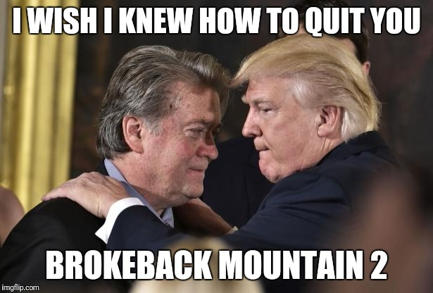 Brokeback Mountain 2 | I WISH I KNEW HOW TO QUIT YOU BROKEBACK MOUNTAIN 2 | image tagged in brokeback mountain 2,lying,donald trump,steve bannon | made w/ Imgflip meme maker