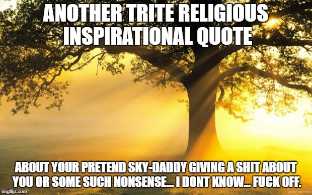 nature | ANOTHER TRITE RELIGIOUS INSPIRATIONAL QUOTE ABOUT YOUR PRETEND SKY-DADDY GIVING A SHIT ABOUT YOU OR SOME SUCH NONSENSE... I DONT KNOW... F** | image tagged in nature | made w/ Imgflip meme maker