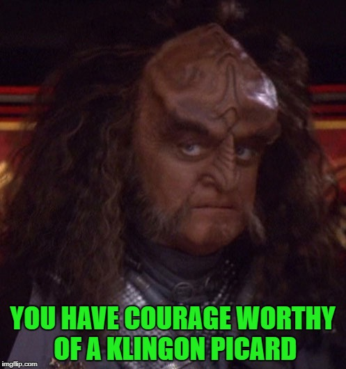 YOU HAVE COURAGE WORTHY OF A KLINGON PICARD | made w/ Imgflip meme maker
