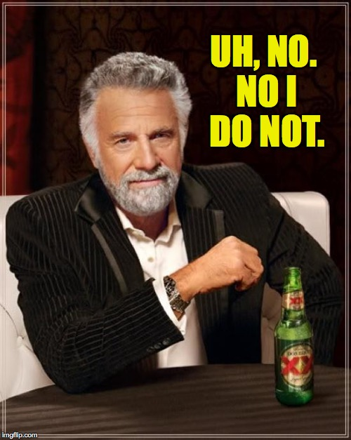 The Most Interesting Man In The World Meme | UH, NO. NO I DO NOT. | image tagged in memes,the most interesting man in the world | made w/ Imgflip meme maker