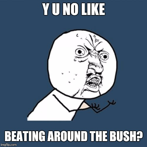 Y U No Meme | Y U NO LIKE BEATING AROUND THE BUSH? | image tagged in memes,y u no | made w/ Imgflip meme maker