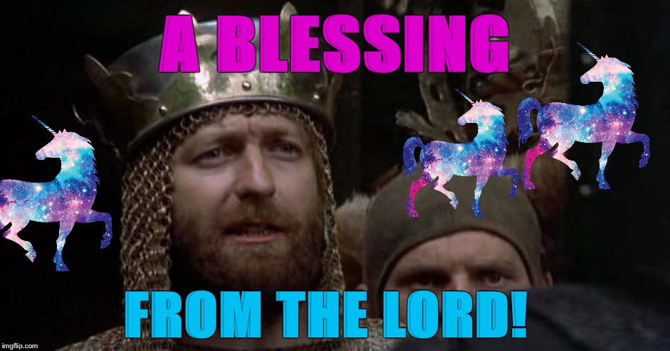 A Group of Unicorns is called a Blessing | A BLESSING FROM THE LORD! | image tagged in blessing of unicorns,monty python and the holy grail,king arthur,merlin | made w/ Imgflip meme maker