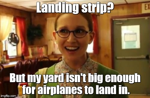 Sexually Oblivious Girlfriend Meme | Landing strip? But my yard isn't big enough for airplanes to land in. | image tagged in memes,sexually oblivious girlfriend | made w/ Imgflip meme maker