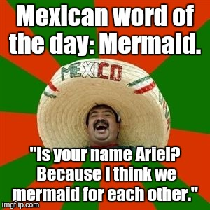 "succesful mexican | Mexican word of the day: Mermaid. ""Is your name Ariel? Because I think we mermaid for each other."" 
