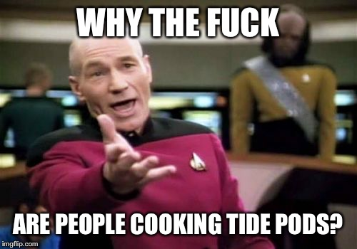 Seems stupid to me  | WHY THE F**K ARE PEOPLE COOKING TIDE PODS? | image tagged in memes,picard wtf,tide pods | made w/ Imgflip meme maker