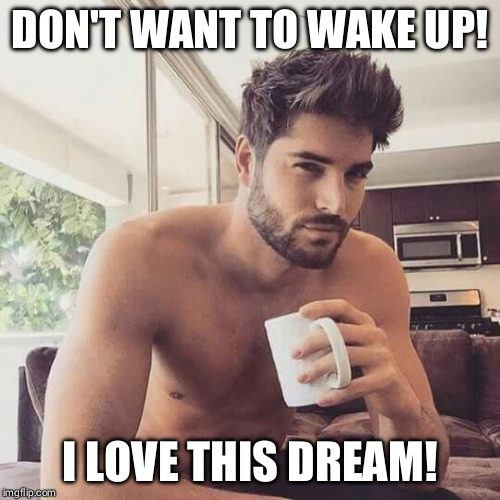 Hot man coffee | DON'T WANT TO WAKE UP! I LOVE THIS DREAM! | image tagged in hot man coffee | made w/ Imgflip meme maker