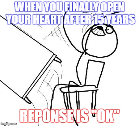 "Table Flip Guy Meme | WHEN YOU FINALLY OPEN YOUR HEART AFTER 15 YEARS REPONSE IS ""OK"" 